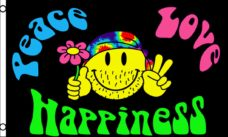 Peace Love Happiness Flag, Novelty Flags, Hippie Flags, Peace Flags, Happiness Flags, Flags