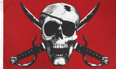Crimson Pirate Flag, Pirate Flags, Skull and Swords Flags, Crimson Flag