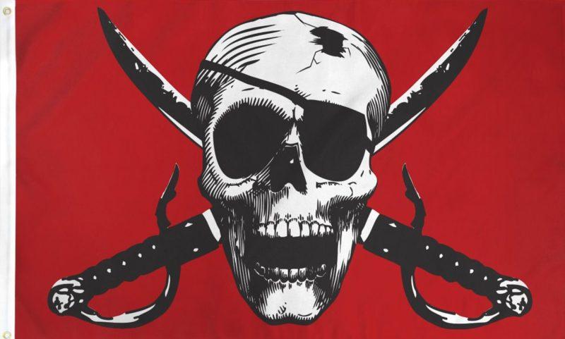 Crimson Pirate Flag, Pirate Flags, Skull and Swords Flags, Crimson Flag