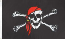 Pirate Red Bandana Jolly Roger Flag, Pirate Flag, Pirate Red Bandana Flag, Red Bandana Jolly Roger Flag, pirate red bandana jolly