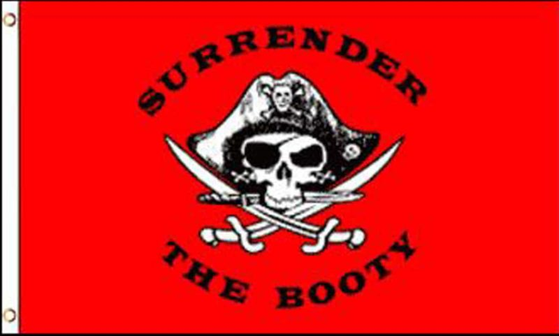 Pirate Surrender The Booty Red Flag, Pirate Flags, Surrender the Booty Flag, Pirate Surrender The Booty Flag
