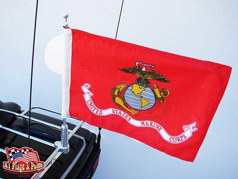 Motorcycle Flagpole with Marine Flag, Motorcycle Flagpoles with USA Flag, Motorcycle Flagpole and Flags, Motorcycle Flags, Harleys, Motorcycles