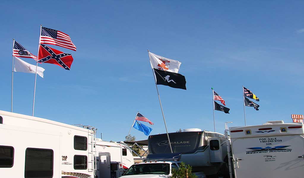Flagpoles, Flags, RV's tailgating at Riverside RV Park Laughlin NV