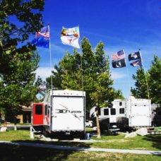 Two RVs both with 2 telescoping flagpoles, ladder mounts, 4 flags and solar beacon lights. two usa flags, 1 nevada state flag, 1 its 5 oclock somewhere flag, 1 cocktail flag, 1 eagle flag, pirate red bandana jolly roger flag and pow mia flag. Trees with green leaves and cloudy skies