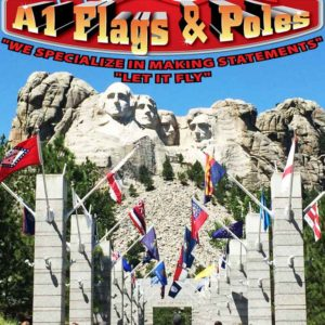 happy presidents day, mount rushmore, a1 flags and poles logo, blue sky