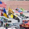 22' Telescopic Flagpoles, Flags, RV's tailgating at LVMS Nascar, retractable flagpole